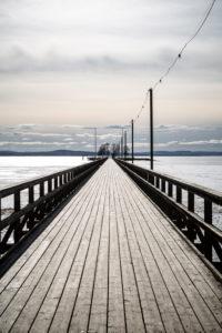 Blick auf zugefrorenen Siljan Sjö, Rättvik, Långbryggan