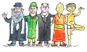 Illustration, icon image, different religions, tolerance