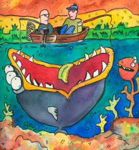 Illustration, angler in the boat, sea monster