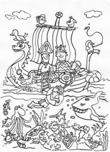 colouring picture, pirate ship
