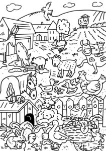 colouring picture, farm