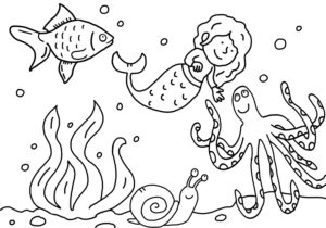 Coloring picture, mermaid
