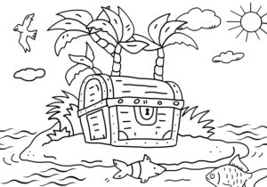 Coloring picture, treasure chest