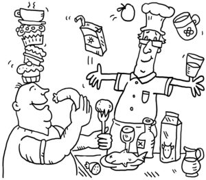 colouring picture, cook and guest