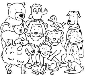 Coloring picture, different animals