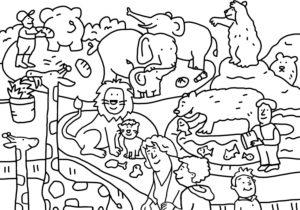 Coloring picture, zoo, animals, symbol of biodiversity,  extinction, biology, diversity,