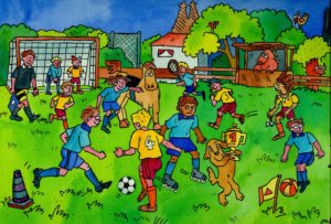 Illustration, soccer game