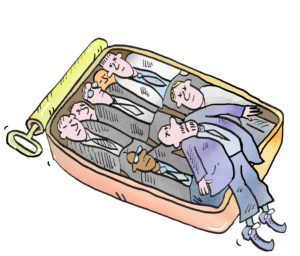 Illustration, sardine can with workers