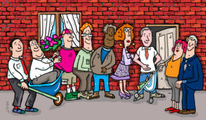 Illustration, people queue in front of an apartment