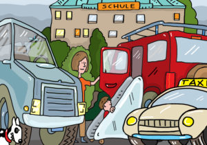 Illustration, parents' taxi