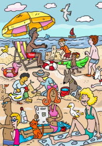 Illustration, vacation, sea, beach