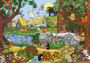 wimmelpicture with lots of animals in the forest