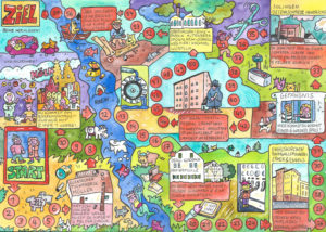 A dice game with the sights of Cologne, Ratingen, Essen and NRW, illustration