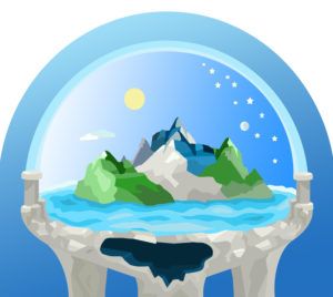 Illustration, ancient world view, flat earth,