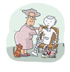 Illustration, elderly woman, robot, feed, symbol, domestic help, medicine, nursing home,