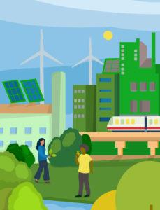 Illustration, symbol, economy, industry, energy, ecology, environment, sustainability, humans and nature