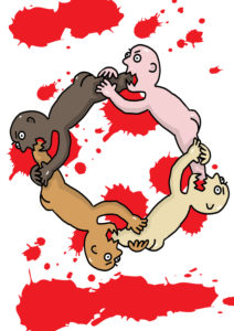 Illustration, a group of people of different skin colors attack each other.