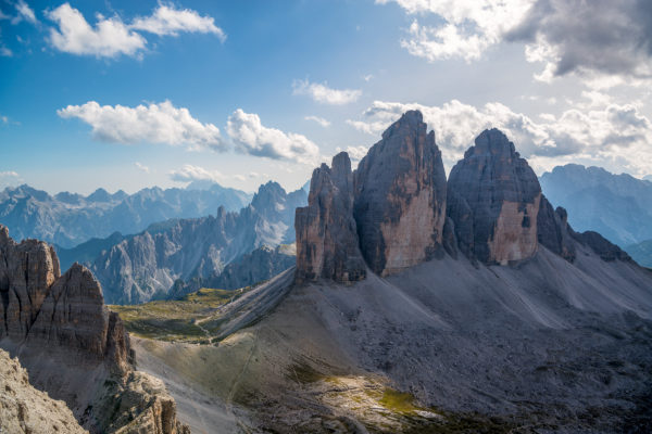 View from the summit of the Paternkofel on the Drei Zinnen, Nature Park Three Peaks, Dolomites, South Tyrol, Italy