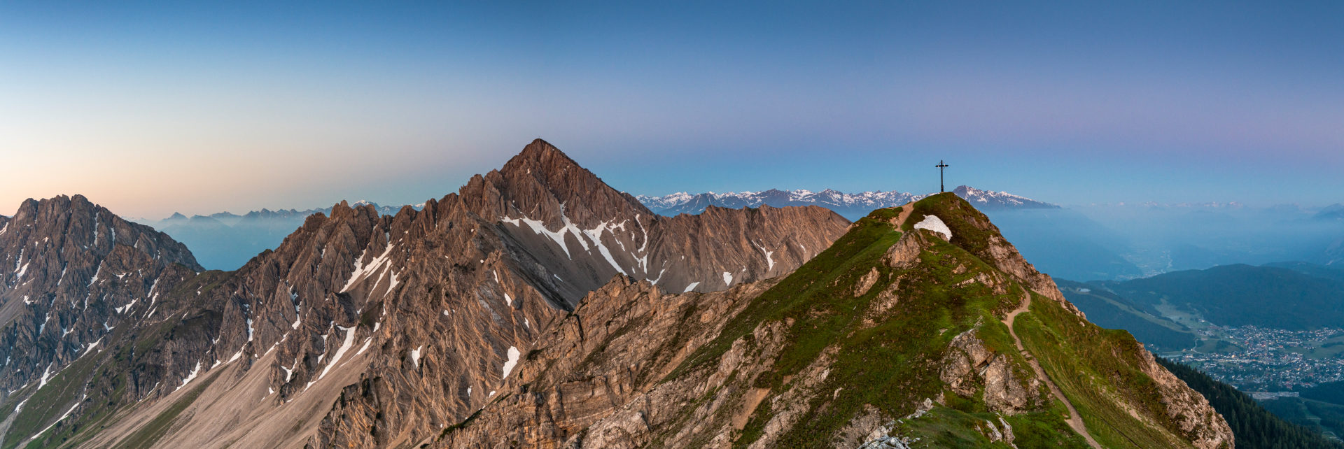 View of the Reither Spitze (2374 m) and the Seefelder Spitze (2221 m) in the Karwendel Mountains shortly after sunrise.
