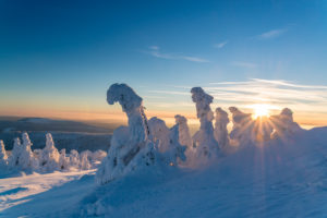Winter landscape at the Brocken in the Harz National Park, Saxony Anhalt, Germany