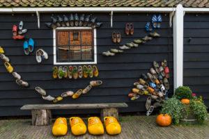 Klompen on a house wall, Zaanse Schans, Zaanstad, Holland, Netherlands