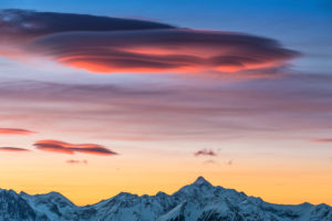 View from the foot of the Dachstein glacier to the Hochgolling, Lenticularis clouds, sunrise, Austria