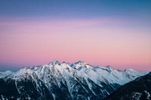 Blick in das Untertal vom Hochwurzen bei Sonnenuntergang, Blick auf Hochwildstelle (2747 m), Schladminger Tauern, Steiermark, Österreich