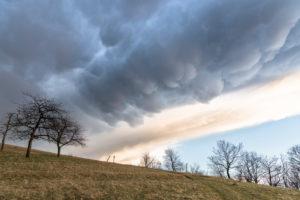 Leuchtenburg, thunderstorm, Mammatus clouds, Thuringia, Germany