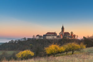Leuchtenburg at sunrise, Seitenroda, Thuringia, Germany