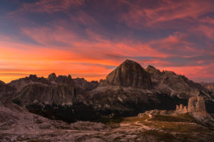 View of the Cinque Torri and the Tofane of Monte Nuvolau, Cortina d'Ampezzo, Dolomites, Italy