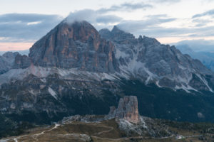 Sunrise in the Dolomites at Rifugio Nuvolau with view on the Tofane and the Cinque Torri, Italy