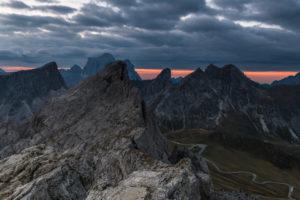 Sunrise in the Dolomites at Rifugio Nuvolau overlooking the Civetta, Passo di Giau, Italy