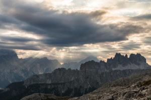 Sunrise in the Dolomites at Rifugio Nuvolau overlooking Croda da Lago, Italy
