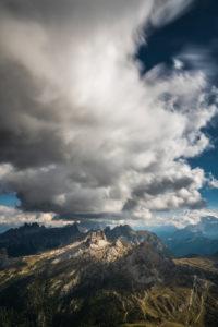 View from Rifugio Lagazuoi (2752 m) to Monte Averau, the Croda Negra and Croda da Lago, Dolomites, Italy