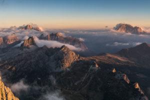 View from Rifugio Lagazuoi (2752 m) to Monte Pelmo, Monte Averau and the Croda Negra and the Civetta, Dolomites, Cortina d'Ampezzo, Italy