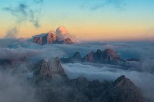 View from Rifugio Lagazuoi (2752 m) to Monte Pelmo, Monte Averau and the Croda Negra, Dolomites, Cortina d'Ampezzo, Italy