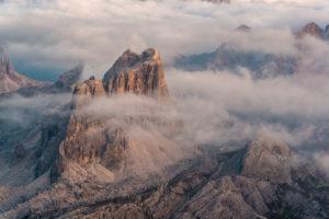 View from Rifugio Lagazuoi (2752 m) on Croda Negra, Dolomites, Cortina d'Ampezzo, Italy