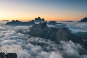 View from Rifugio Lagazuoi (2752 m) to the Croda Negra, Croda da Lago and the Civetta, Dolomites, Italy