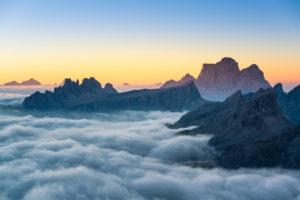 View from Rifugio Lagazuoi (2752 m) overlooking Croda da Lago, Dolomites, Cortina d'Ampezzo, Italy