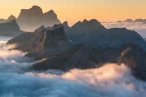 View from Rifugio Lagazuoi (2752 m) to Monte Pelmo and the Croda Negra, Dolomites, Cortina d'Ampezzo, Italy
