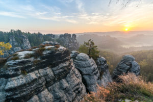 View from the bastion on the small goose rocks at sunrise,Elbe Sandstone Mountains,Saxony,Germany
