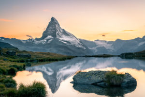 The Matterhorn reflected in Stellisee at sunset,Switzerland