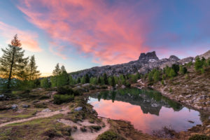 Sunrise at Lago di Limides, view of Monte Averau, Dolomites, Italy
