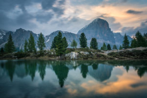 Sunset with view of Lago di Limides and the Tofane, Dolomites, Italy