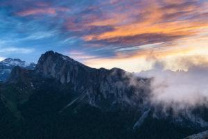 Blick auf den großen Settsass vom Falzaregopass, Sonnenuntergang, Dolomiten, Italien