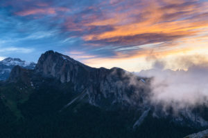 View of the great Settsass from the Falzarego Pass, sunset, Dolomites, Italy