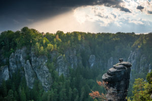 Sunset in the Elbe Sandstone Mountains with a view of the needle.