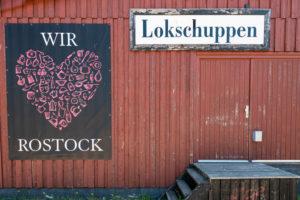 Lokschuppen im Hafen von Rostock,  Mecklenburg-Vorpommern.