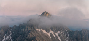 View of the Reither Spitze (2374 m) in the Karwendel Mountains at sunset.