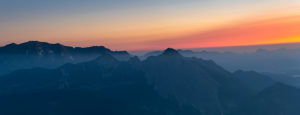 Sunrise over the Karwendel Mountains with a view of the great Arnspitze in Austria.